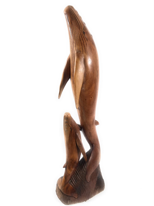 "Exquisite Dolphin & Calf 40"" - Hand Carved - Hawaiian Treasure 