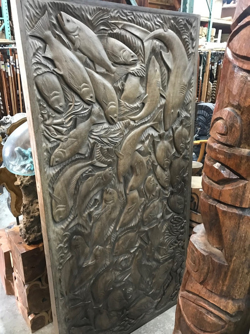 "Exquisite Fish Storyboard Relief 81"" X 41"" - Hand Carved 