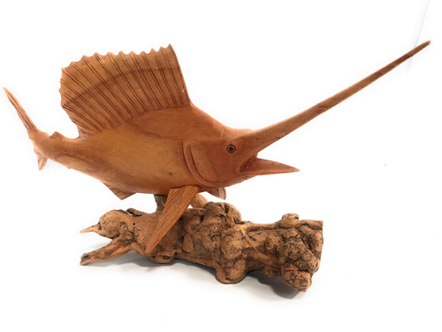 "Blue Marlin Hand Carved On Drift Wood Base 20"" - Island Art 