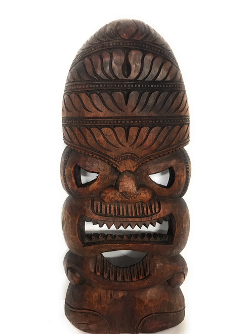 "Premium Love Tiki Mask 18"" Stained - Hand Carved 