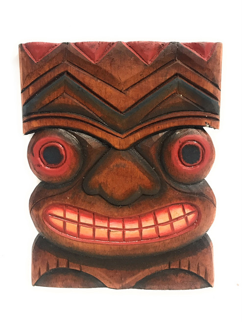"""Happiness Tiki Mask 8""""X6"""" - Wall Plaque Hand Carved 