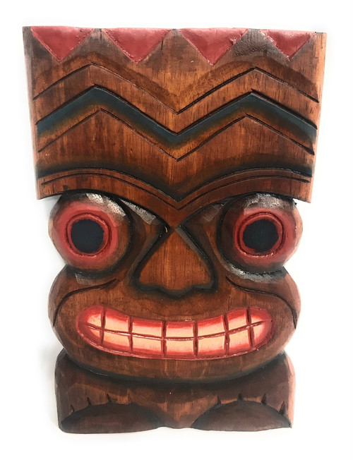 "Happiness Tiki Mask 12""X8"" - Wall Plaque Hand Carved 