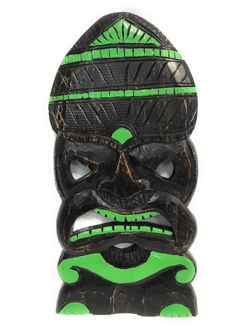 "God Of Surf Tiki Mask 20"" Green Wood Hand Carved 
