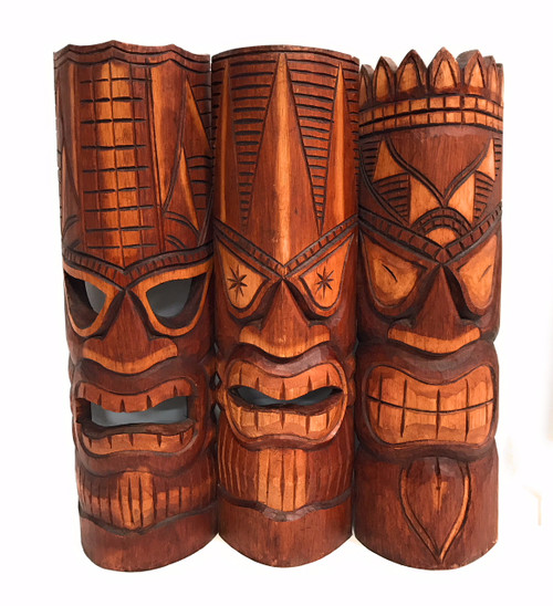 "Set of 3 Tiki Masks 20"" - Love, Prosperity, Family 