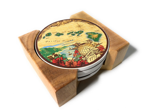 Island Style Hawaiian Ceramic Coasters - Brown Island Chain | #ig27621
