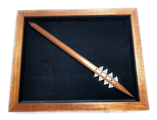 "Koa Shadow box w/ Spear 22""X 18"" - Black Velvet - Made In Hawaii 
