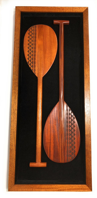 "Koa Shadow box w/ Tribal Oars 42""X 18"" - Black Velvet - Made In Hawaii 