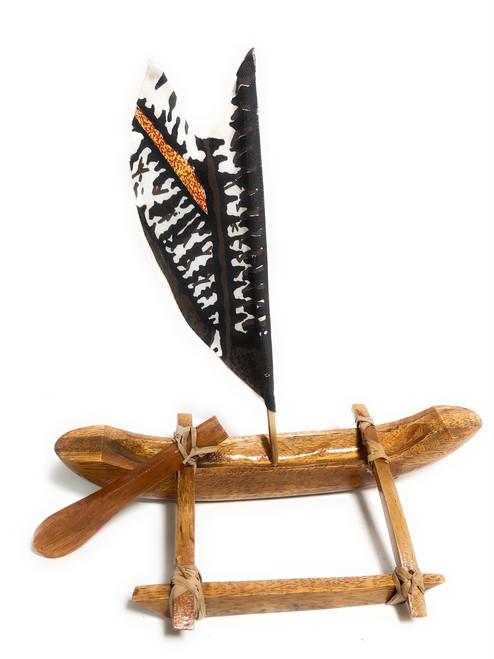 "Voyager Sailing Canoe w/ Tapa Sail - 11"" - Corporate Gift   #ig70311"