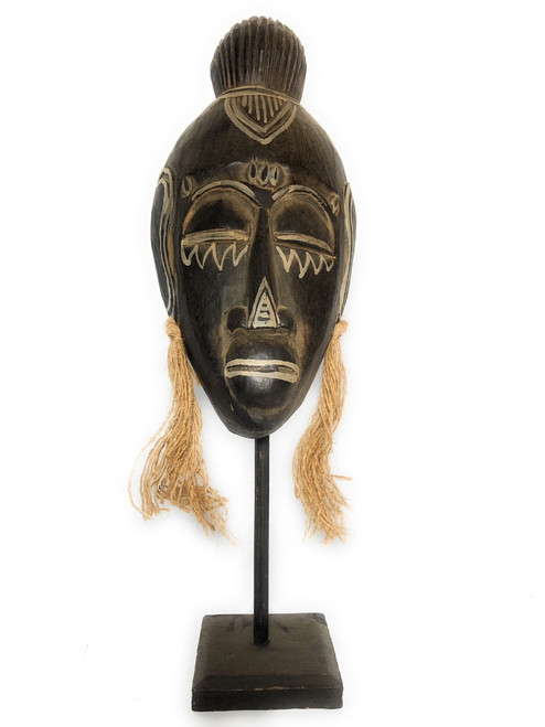 "Papua Guinea Tribal Tiki Mask on Stand 18"" - Primitive Art 