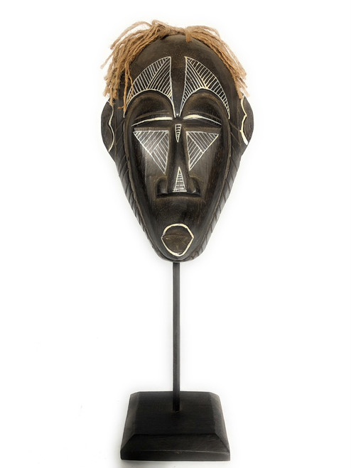 "Papua Guinea Tribal Tiki Mask on Stand 16"" - Primitive Art 