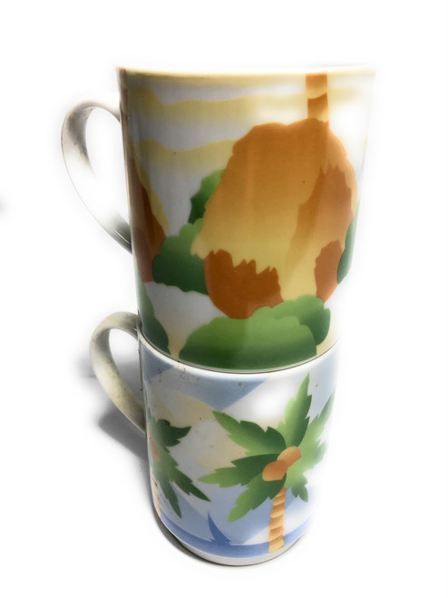 2 Stackable Mugs Porcelain Beach Life | #ih03330