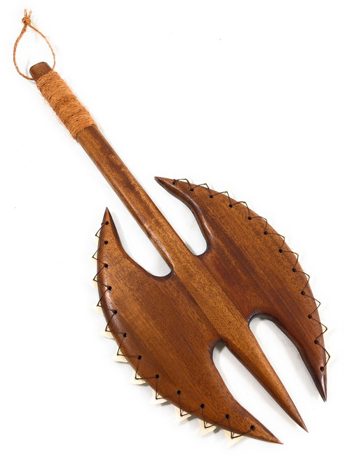 "Koa Double Axe War Club 24"" w/ Shark Teeth - Polynesian Art 