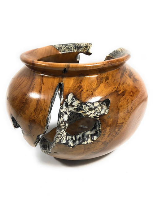 "Teak Root Bowl Urn Small 11"" X 11"" X 7"" - Architectural Home Decor 
