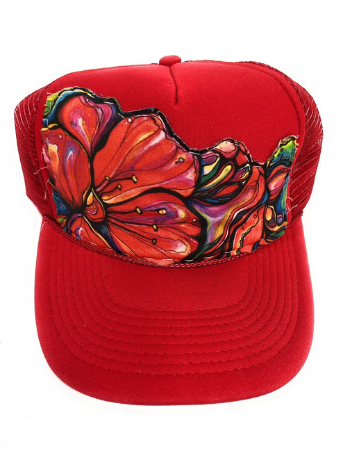 "Aloha Trucker Hats ""Juicy Bloom"" - Hand Stitched in Hawaii 