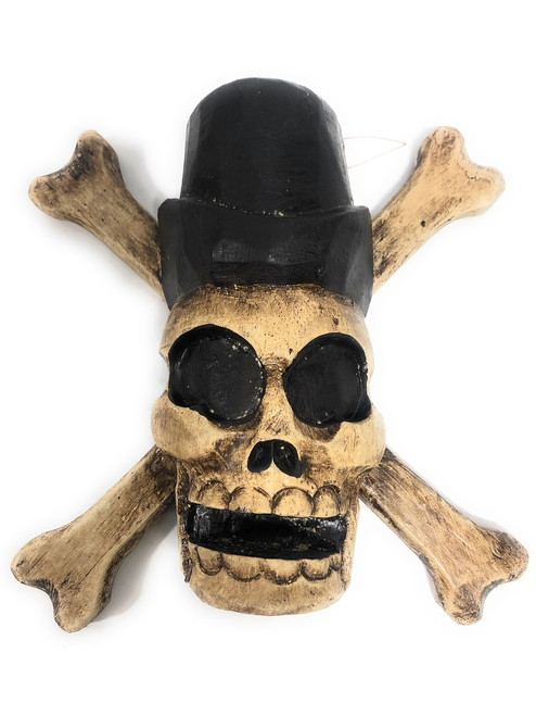 "Cross Bones Hanging Sign 8"" - Taxman Skull Decor 