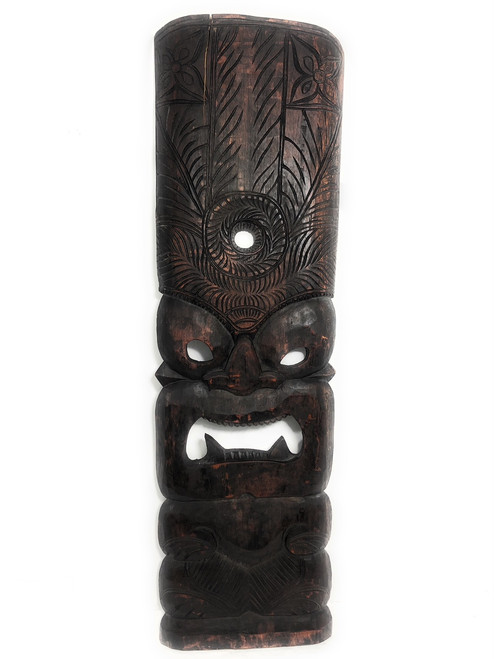 "Premium Kane Tiki Mask 36"" - Walnut Monkeypod Hand Carved 