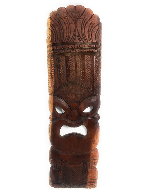"Premium Ku Tiki Mask 36"" - Brown Monkeypod Hand Carved 