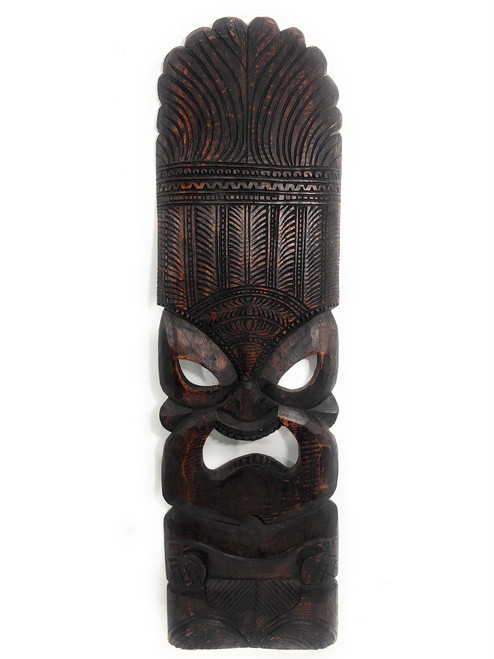 "Premium Ku Tiki Mask 36"" - Walnut Monkeypod Hand Carved 