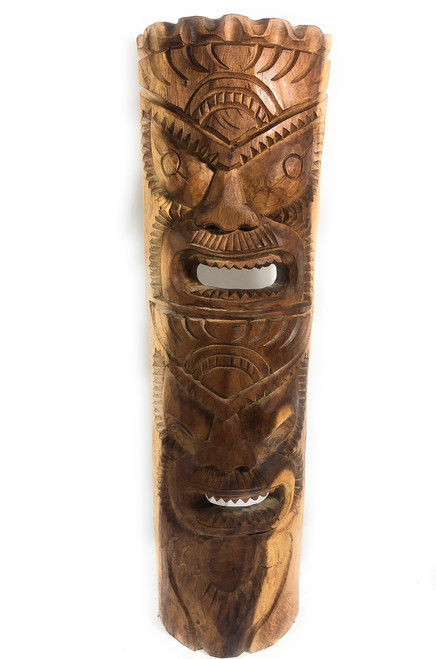 "Premium Love & Prosperity Tiki Mask 40"" Natural - Hand Carved 