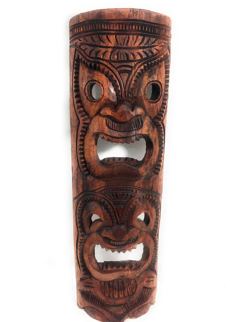 """Premium Love & Happiness Tiki Mask 40"""" Stained - Hand Carved 