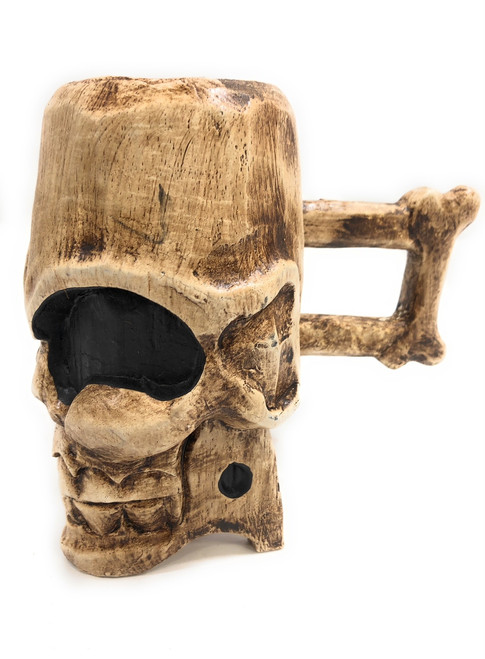 "Decorative Wooden Skull Mug 7"" X 6"" Keepsake Box 