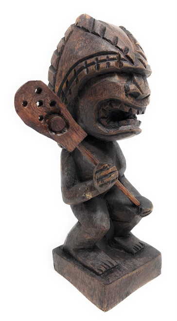 "Tiki Lacrosse Trophy 8"" - God Of King Kamehameha Hand Carved Sporting Event 