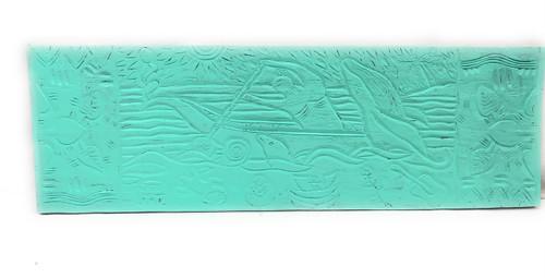 "Canoe Paddler Hawaiian Scene Wood Panel 40"" X 12"" Polynesian Wall Art | #dpt5028100t"