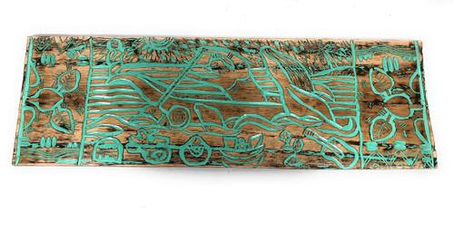 "Canoe Paddler Hawaiian Scene Wood Panel 40"" X 12"" Polynesian Wall Art   #dpt5028100tw"