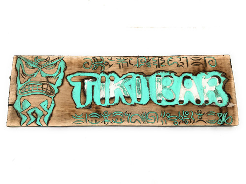 "Tiki Bar Sign 24"" w/ Petroglyph Tiki Design - Turquoise Weathered 