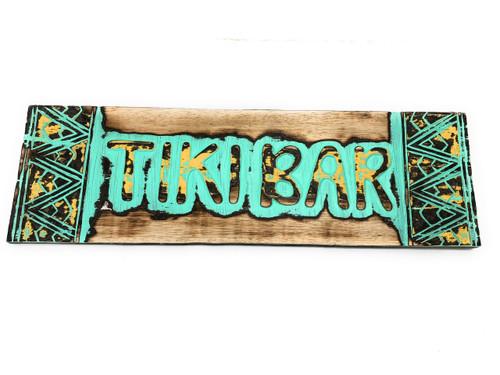 "Tiki bar Sign w/ Tribal Design 24"" - Hand Carved | #dpt1200260tw"