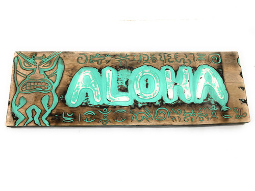"Aloha Sign 24"" w/ Petroglyph Tribal Designs - Weathered Tiki Bar Decor 