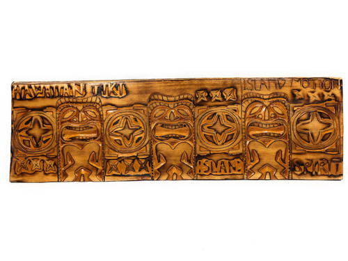 "Golden Tiki Relief Hawaiian Tiki, Island Motion Wood Panel 40"" X 12"" King Kamehameha - Polynesian Wall Art 