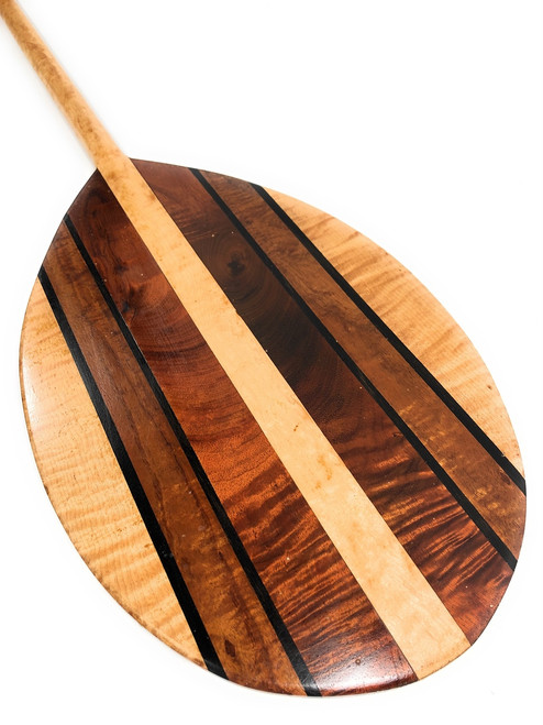 "Curly Koa Outrigger Paddle 50"" w/ Maple Inlays T-Handle - Made in Hawaii - | #koa903"