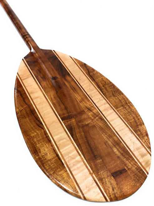 "Curly Koa Canoe Paddle 60"" w/ Maple Inlays Steersman - Made in Hawaii - 