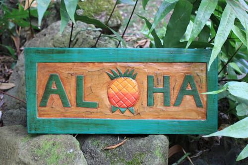 """ALOHA"" PINEAPPLE TIKI SIGN 16"" CARVED/PAINTED - HOME DECOR"
