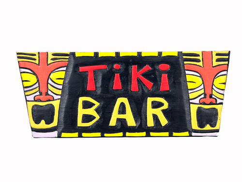 "TIKI ART - POP ART ""TIKI BAR"" SIGN - 20"" - TIKI BAR DECOR"