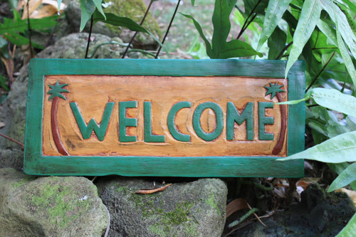 """""""WELCOME"""" PALM TREES TIKI SIGN 16"""" CARVED/PAINTED - HOME DECOR"""