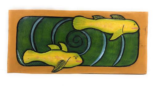 "Hawaiian Sea Bass, Koru Spiral 30"" X 15"" - Wall Art Wooden Panel | #dpt519175"
