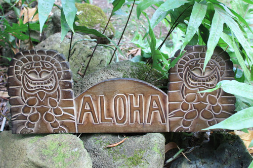 "Wooden ""Aloha"" Tiki Sign - 20 inch - Hand Carved 