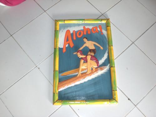 "CLASSIC SURF ""ALOHA"" - BAMBOO FRAME 24"" X 16"""