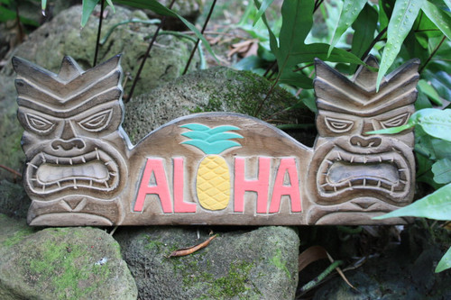 "TIKI BAR SIGN ""ALOHA PINEAPPLE"" - TIKI BAR DECOR"