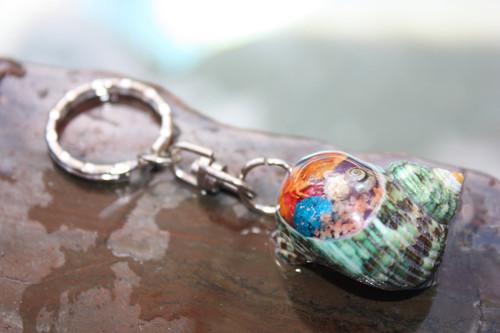 Keychain Seashell w/ Inlay Sea Life #4 - Aloha Keychain