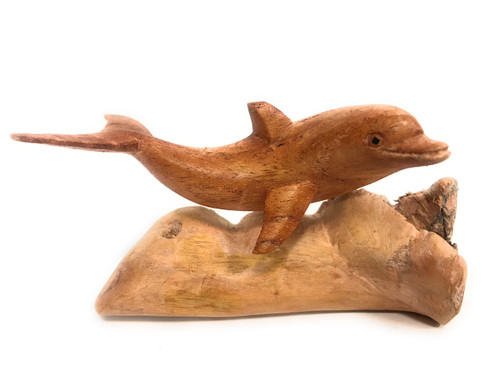 "Carved Dolphin on Driftwood base 5"" Hand Carved 
