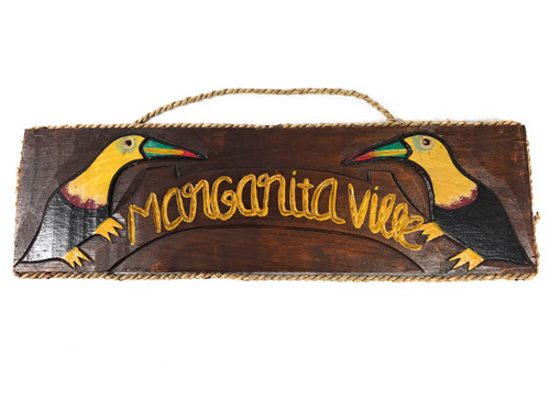 "Margarita Ville Wall Hanging Sign 16"" - Parrot Tropical Decor 