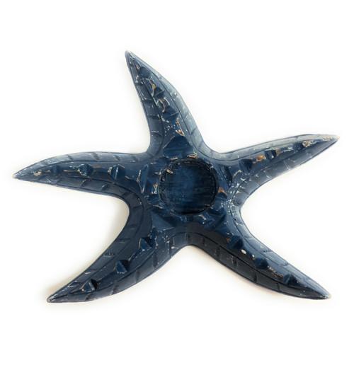 "Starfish Candle Holder 9"" - Rustic Coastal Blue   #ata1801122b"
