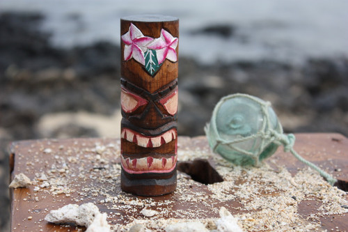 "Tiki Totem 5"" w/ Flowers - Hand Carved & Painted"