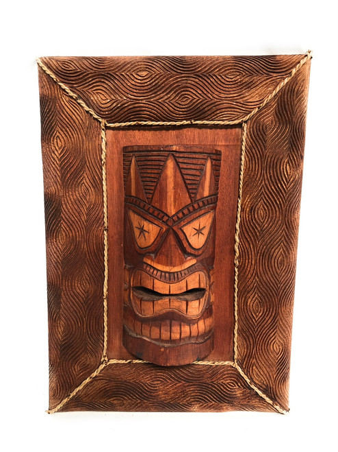 "Love Tiki Mask W/ Carved Wooden Frame 22"" X 15"" - Tiki Bar Decor 