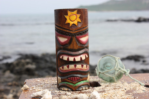 """Tiki Totem 5"""" w/ Sunny Hawaii - Hand Carved & Painted"""