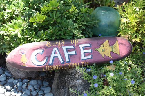 """""""CAFE LANIKAI, OAHU"""" VINTAGE TIKI SIGN - 36"""" - MADE IN HAWAII"""