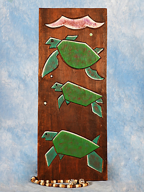 """HAWAIIAN TURTLES"" RELIEF - 12"" CARVED & PAINTED - OCEANIC ART"